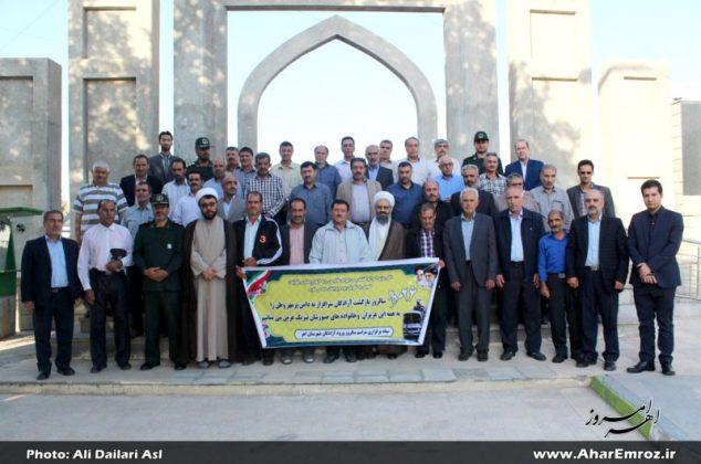 تصویری/ آیین تجدید میثاق آزادگان اهر با شهدا