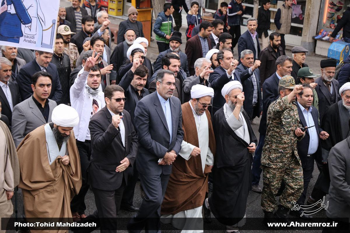 فیلم/ راهپیمایی روز ۱۳ آبان در اهر با حضور پرشور شهروندان