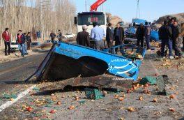 تصادف مرگبار نیسان و اتوبوس با ۲ کشته و ۱۴ مصدوم در جاده اهر – مشگین شهر + تصاویر