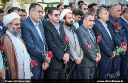 تصویری/آیین غبارروبی گلزار شهدای دوران دفاع مقدس شهرستان اهر به مناسبت هفته دولت