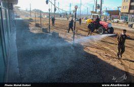 تصویری/ مانور گندزدایی و شستشوی محلات شهر توسط گروههای جهاد سلامت شهرستان اهر
